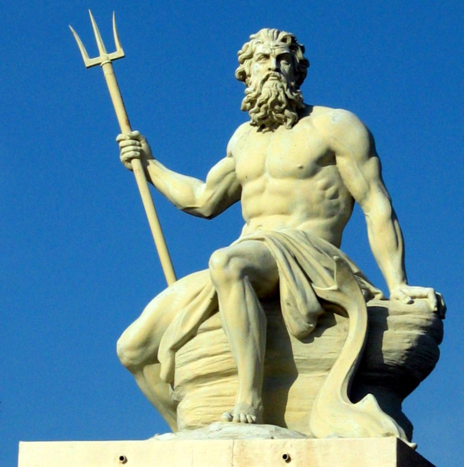 sculpture of Poseidon in the port of Copenhagen.
